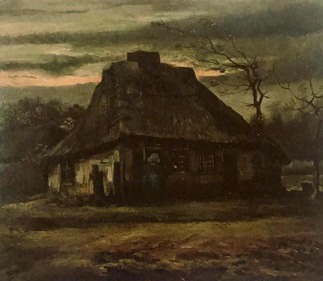 La Cabaña. Óleo sobre lienzo Obra oscura donde plasma el deterioro de la cabaña brabanzona, los campesinos son solamente trazos para centrar la vista en la cabaña.
