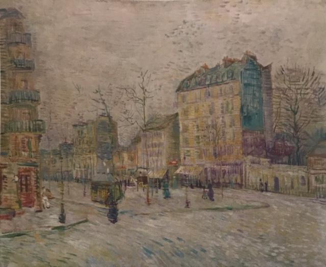 Boulevard de Clichy. Óleo sobre lienzo Boulevard donde vivió Van Gogh junto a su hermano Theo. Obra impresionista donde se refleja de manera fugaz la gente, los edificios con toques cortos y fluidos de color.