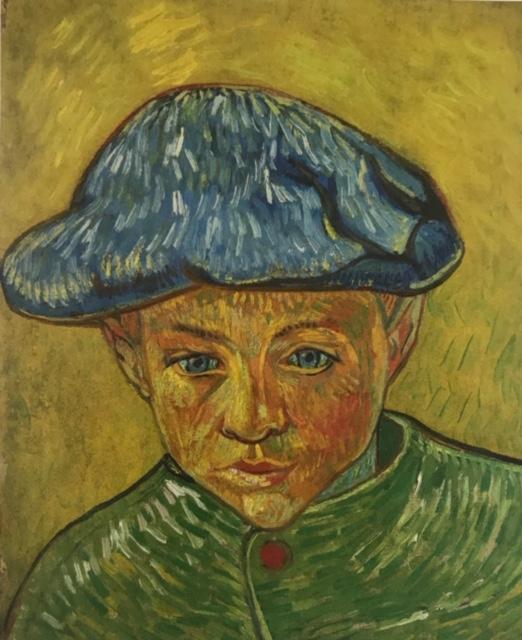 Retrato de Camille Roulin. Óleo sobre lienzo Cuadro con predominio de pinceladas en amarillo que centra la vista sobre la intensa mirada del niño, con predominio de colores complementarios.