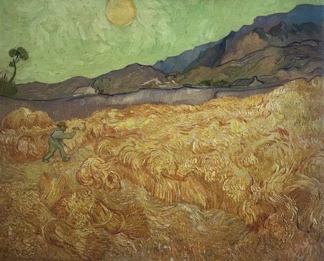 Campo de trigo con segador. Óleo sobre lienzo Representa la vista desde la ventana de su habitación, los colores amarillos del campo de trigo son predominantes. Las espigas las refleja con trazos ondulantes casi en espirales.