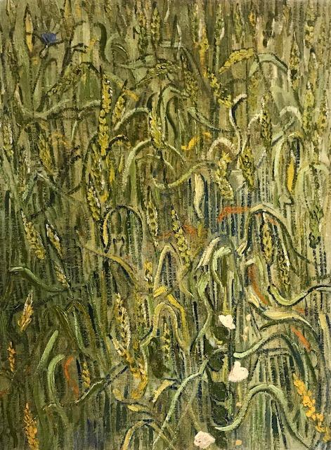 """Espiga. Óleo sobre lienzo Campo de espigas en primer plano, utiliza los colores para representar """"el suave susurrar de las espigas balanceándose al viento""""."""