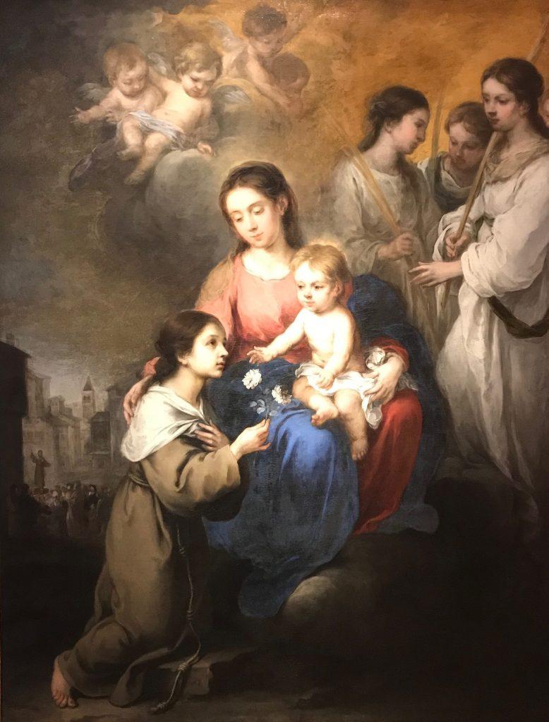 La virgen y el niño con Santa Rosa de Viterbo. Murillo. Óleo sobre lienzo