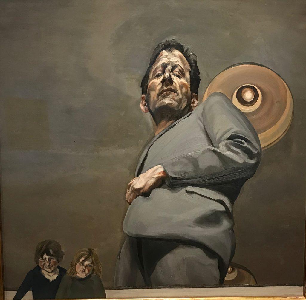 Reflejo con dos niños (autorretrato). Lucian Freud