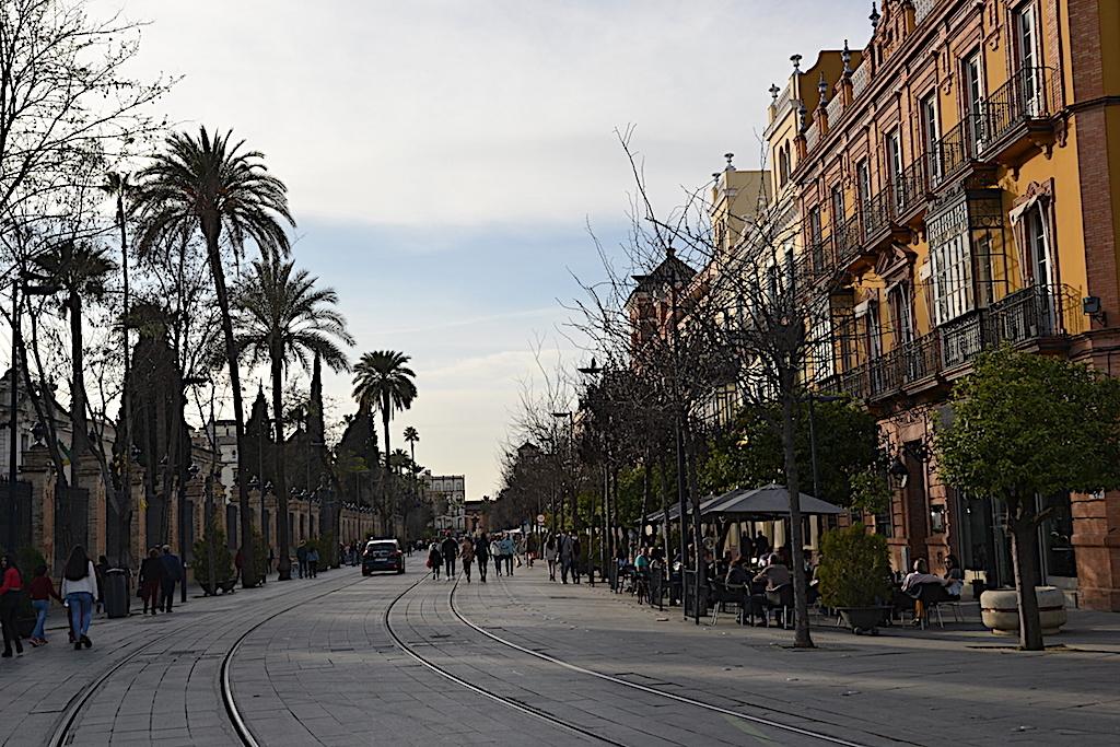 Calle en Sevilla camino a Plaza de España.